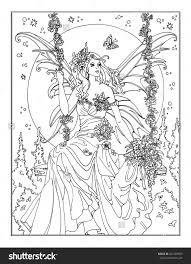 enchanted fairy coloring page shutterstock 442203655