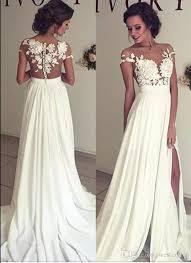 discount 2017 summer bohemian chiffon wedding dresses cheap sheer
