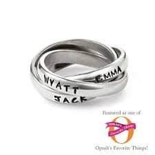 mothers rings stackable engraved name rings silver personalized s ring for three children