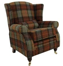 Tweed Armchair Wool Tweed Wing Chair Fireside High Back Armchair Skye Burnt