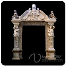 outdoor home decoration stone carving arch door marble frame with