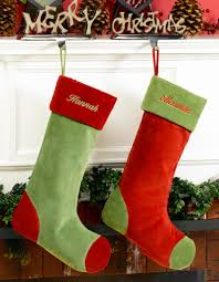 green velvet personalized christmas stocking with red cuff toe
