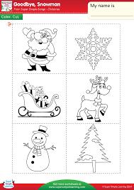 goodbye snowman worksheet u2013 color cut u0026 paste super simple