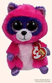 amazon ty beanie boos roxie pink purple raccoon plush 6