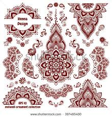 hand drawn mehendi ornamental pattern design set indian henna