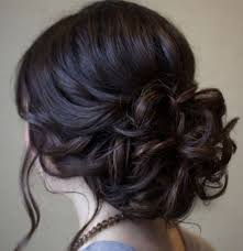 beautiful low prom updo hairstyle with loose soft curls wedding
