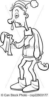 vectors illustration man flu cartoon coloring black
