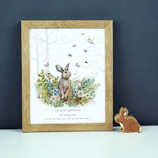 bunny nursery personalised baby girl bunny nursery print by duffy