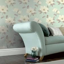 Magnolia Wallpaper Magnolia Blue U0026 Cream Smooth Wallpaper Departments Diy At B U0026q