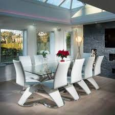 Contemporary Glass Dining Room Sets Modern Large 10 Seater Glass Stainless Steel Dining Table 240 X
