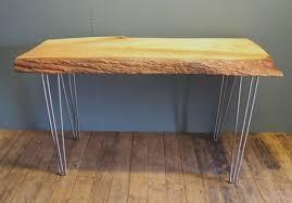 Hairpin Leg Console Table Waney Edge Lime Desk Console Table On Hairpin Legs Beeston