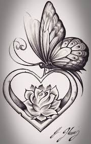 rose heart banner tattoo design photos pictures and sketches