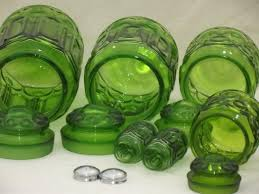 green canister sets kitchen glass moon pattern kitchen canisters vintage canister set