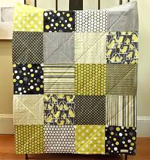Baby Blanket Comforter Black White And Yellow Comforter Baby Quilt Gray Bird Baby Blanket