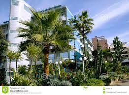 modern hotel with a wonderful garden in casablanca royalty free