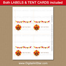 thanksgiving food signs place cards labels digital
