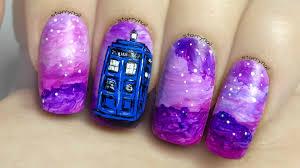 tardis doctor who freehand nail art tutorial youtube