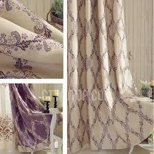 Purple Floral Curtains Floral Pattern Blackout Curtains Linen And Cotton Fabric