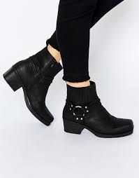 harness biker boots vagabond ariana black leather harness biker boots in black lyst