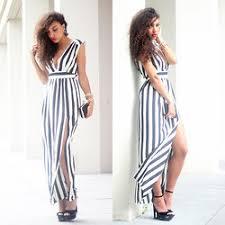 black and white striped maxi dress lookbook