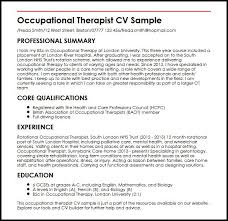 resume exles for therapist occupational therapist cv sle myperfectcv
