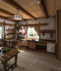 country style kitchen interior 3d render u2014 stock photo