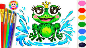how to draw a frog sea animals coloring page to learn colors for