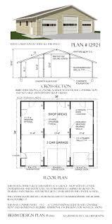 over sized 3 car garage plans 1292 1 38 u0027 x 34 u0027 by behm design