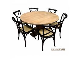 round kitchen table for 5 utah dia 135cm mango wood round dining table 5 black cross