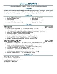 Example Summary Resume by Fitness And Personal Trainer Resume Sample Summary Highlights