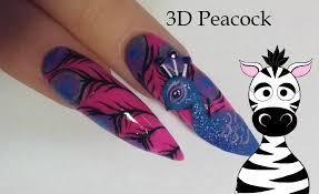 3d peacock acrylic nail art tutorial youtube