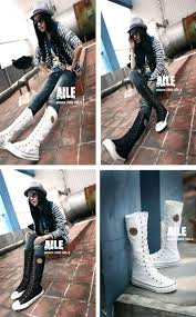 high motorcycle boots fashion women canvas boots knee high shoes lady motorcycle boots
