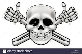 pirate skull and crossbones skeleton thumbs up