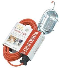 cable work light with metal guard and 25 extension cord