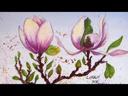 magnolia painting in watercolor tutorial youtube