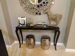 Black Foyer Table Furniture Black Foyer Tables With Sunburst Mirror And Garden