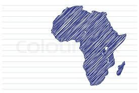 scribble sketch of africa map on a notepad sheet stock vector