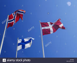 flags of the nordic countries norway denmark finland sweden
