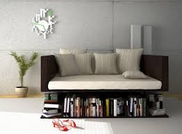 uncommon bookcase featuring a levitating sofa freshome com