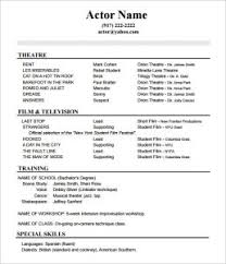 Actor Resume Template Free Lofty Design Ideas Sample Acting Resume 7 10 Acting Resume
