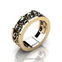 mens skull wedding rings mens modern 14k black and white gold blue topaz skull channel