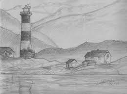 easy drawing picture by pencil of landscape drawing of sketch