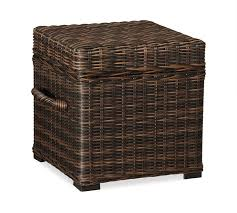 Wicker Accent Table Torrey All Weather Wicker Cube Espresso Pottery Barn