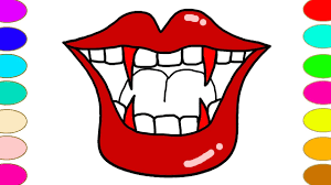 lips coloring pages learn colors with vampire lips coloring games