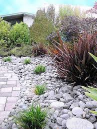 River Rock Landscaping Ideas Outdoor Yard With River Rock And Drought Tolerant Plants River