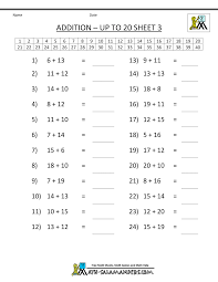 free addition worksheets mental addition to 20 3 math
