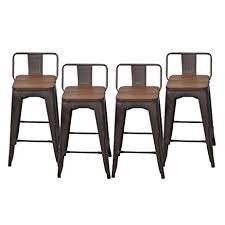 cafe bar stools amazon com pack of 4 low back gunmetal counter bar stool indoor