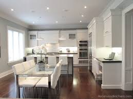 large open concept transitional kitchen with painted cabinets