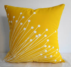 Yellow Decorative Throw Pillow For Couch Measures 18 Inch Square