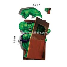 3d cartoon wall paper marvel hero wall decal incredible hulk home